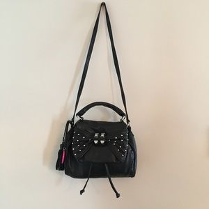 Betsey Johnson leather bow detail flap front bag